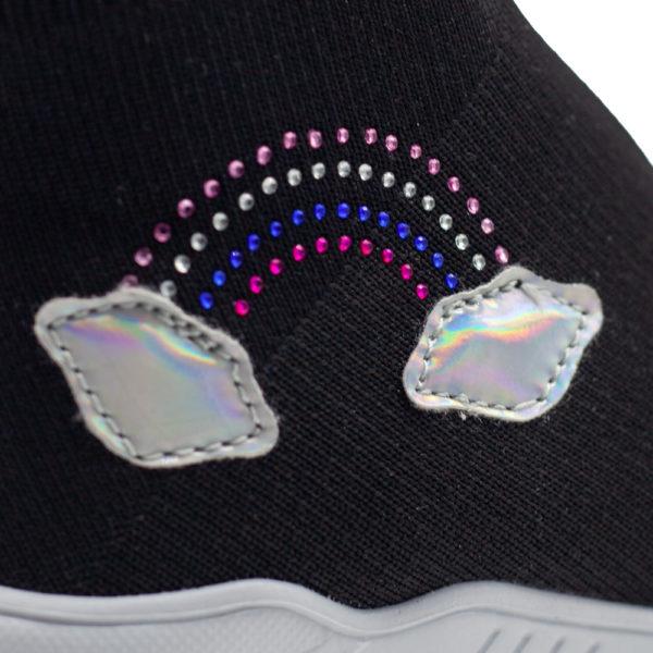 Botita negra deportiva grande de calcetín arcoíris
