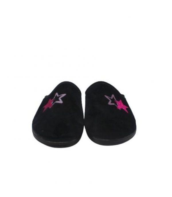 Imagen de las Zapatillas estar por casa negra con estrellas