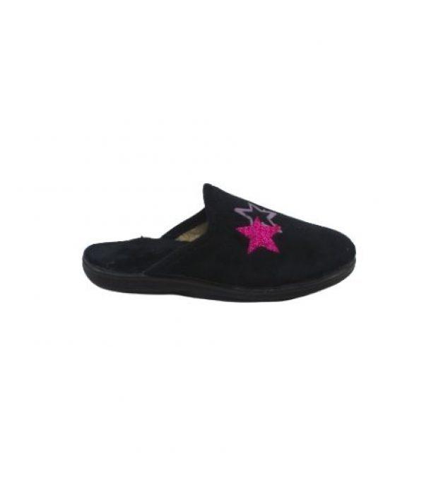 Imagen Lateral de las Zapatillas estar por casa negra con estrellas