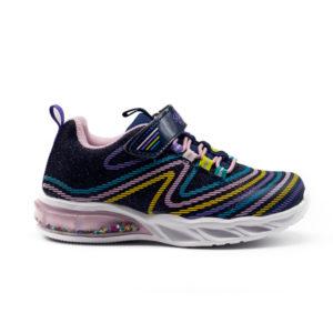 Zapatillas deportivas azul marino con luces y purpurina