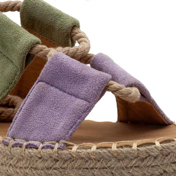 Sandalia con cuerdas y plataforma de yute en antelina