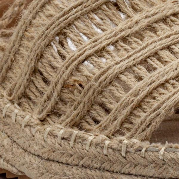 Sandalia de plataforma con cuerdas y punta abierta,todo de yute