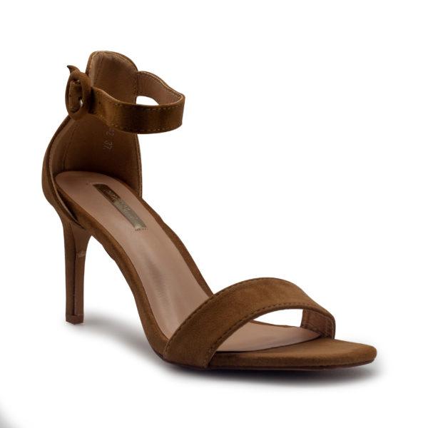 Sandalia de tacón alto con pulsera en antelina