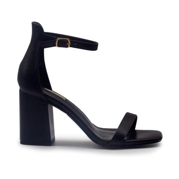 Sandalia de tacón ancho en sintético con talón y pulsera