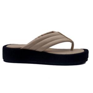 Sandalia de dedo con plataforma y planta acolchada con corte y forro sintético
