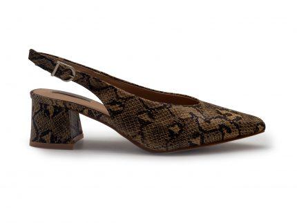 Sandalia tacón bajo en antelina con punta fina