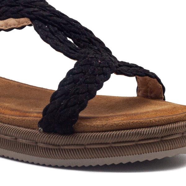 Sandalia trenzada de tiras con planta súper acolchada