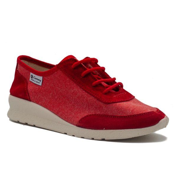 Sneakers de lona atado con cuñita y plantilla transpirable
