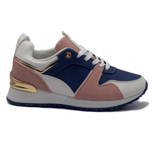 Sneakers perforadas con cordones y piso fino