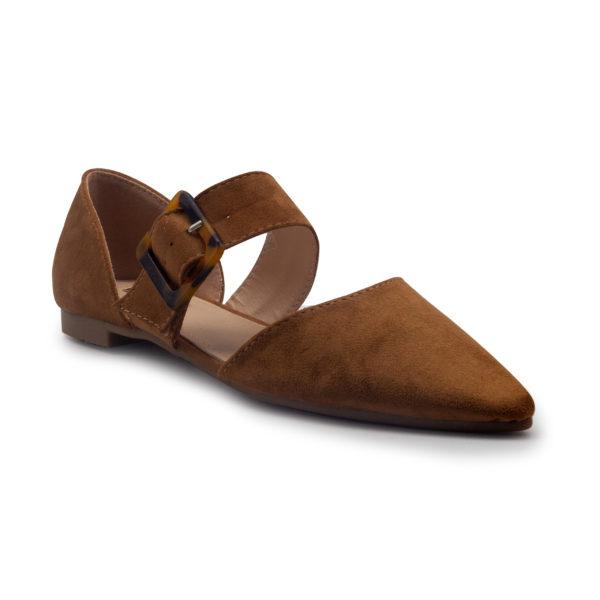 Zapato plano con hebilla en antelina y tira central
