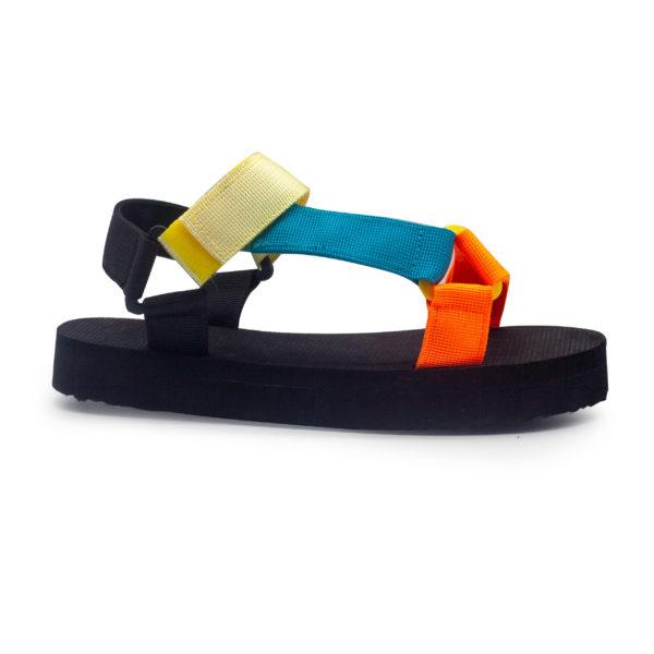 Sandalia de bloque baja con tiras multicolor