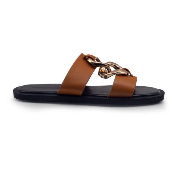 Sandalia plana con cadenas y 2 bandas