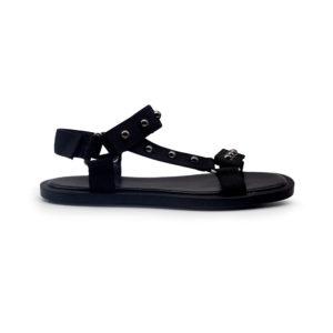 Sandalia plana de nylon con bolitas