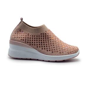 Sneakers de calcetín con cuña y pedrería
