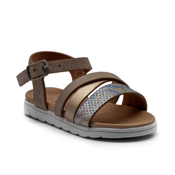 Sandalia de niña degradada con tiras de brillo