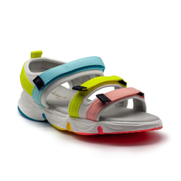 Sandalias con tiras de nylon y velcros de colores