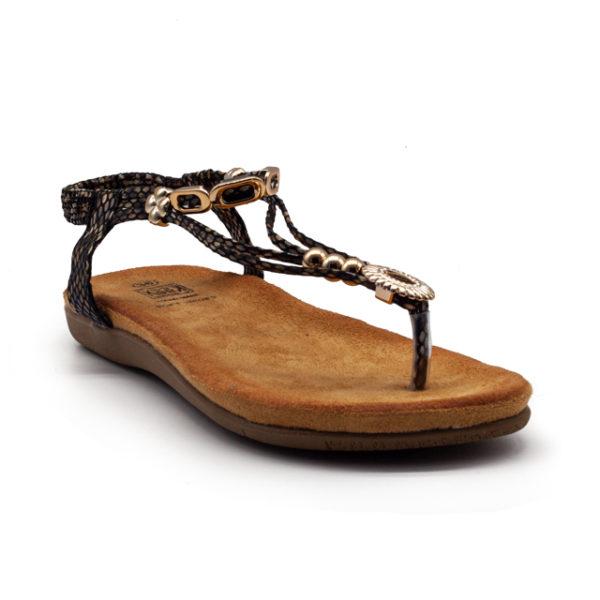 Sandalia de dedo con tiras de serpiente