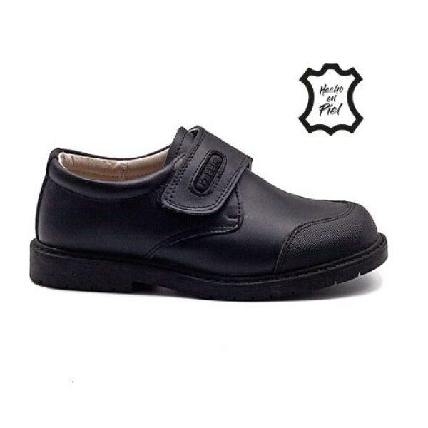 Zapato colegial de piel con cierre de velcro