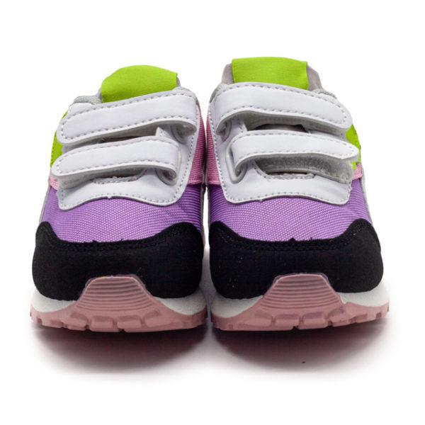 Deportiva de niño y niña combinada de colores con 2 velcros y suela blanca.