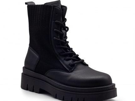 Botín militar de calcetín con cordones y suela track.