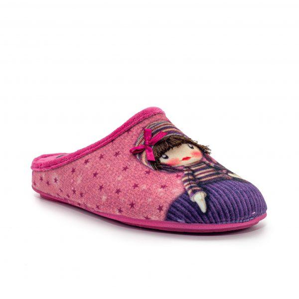 Zapatilla abierta de muñeca con lazo, con una pequeña cuña en su interior.